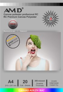 Canvas poliester adeziv mat 250 microni A4 - 20 coli